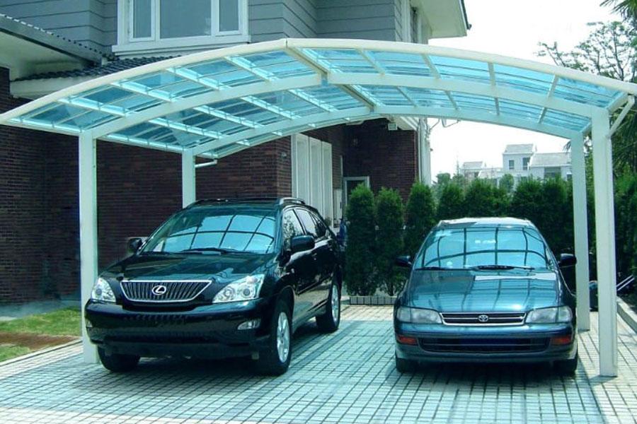 Cobertura para garagem de vidro para dois carros.