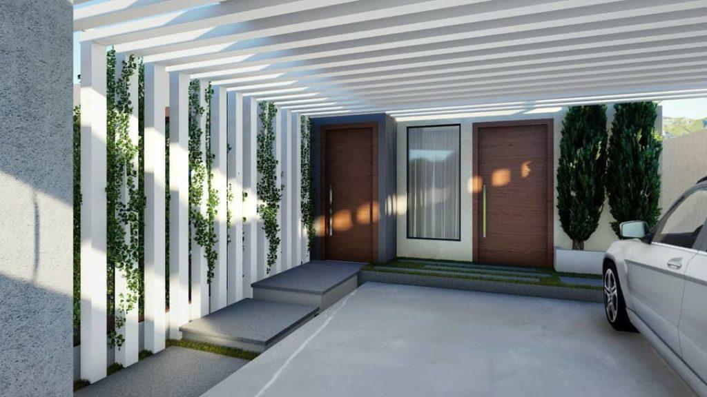 Cobertura para garagem com estrutura de concreto.