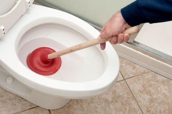 Vaso sanitário com desentupidor.