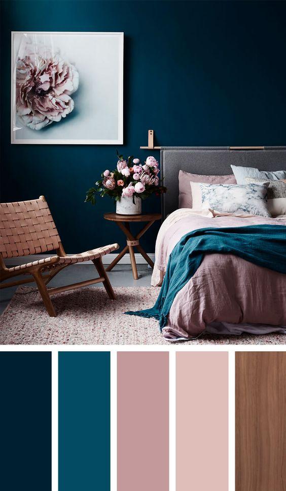 Cores de tintas para quarto feminino moderno.