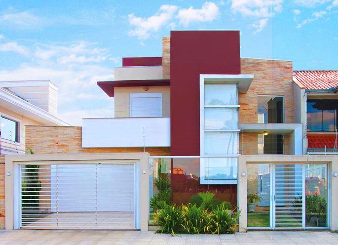 Cores de tintas para fachada de casa com dois pavimentos.