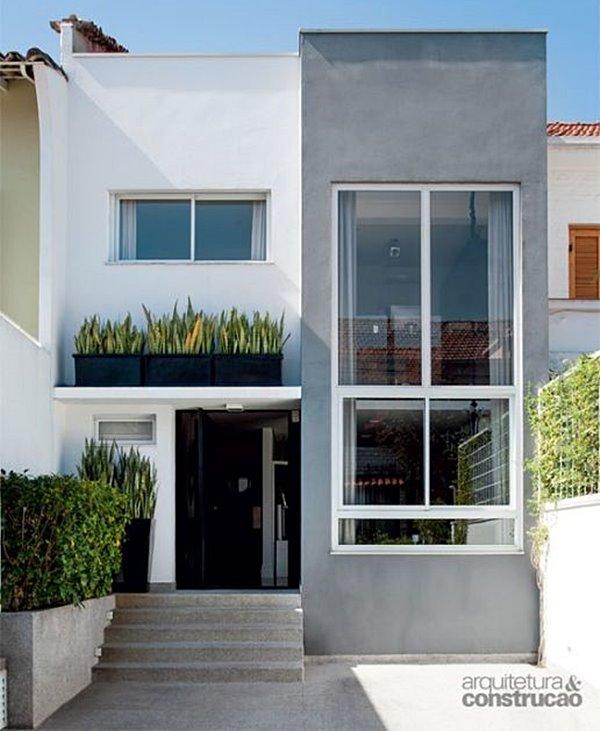 Cores de tintas para fachada de casa moderna e cinza.