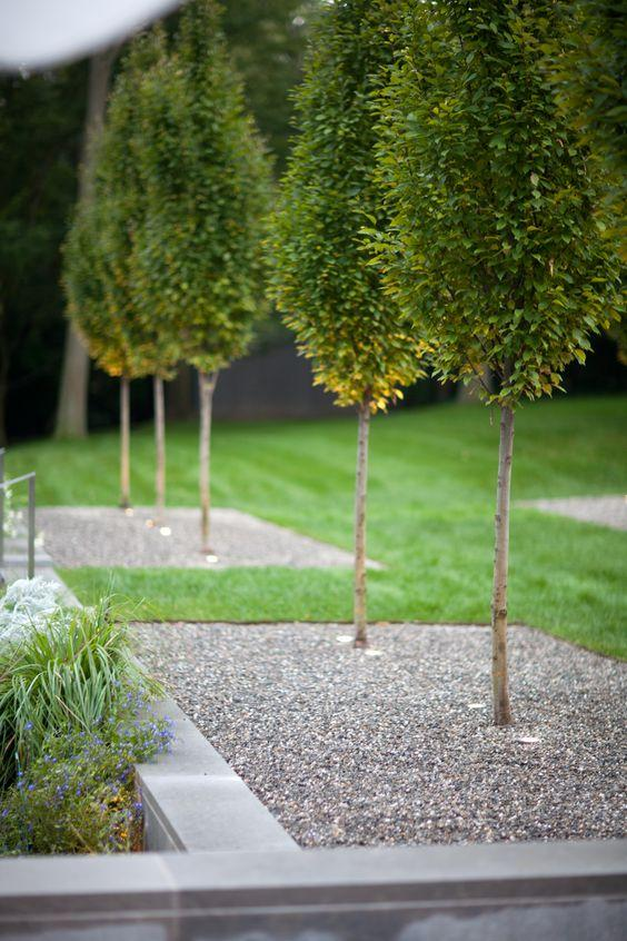 Jardim com pedras de brita minimalista.