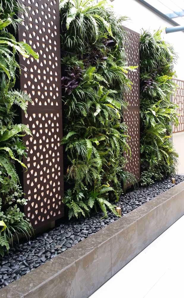Jardim suspenso moderno com samambaias.