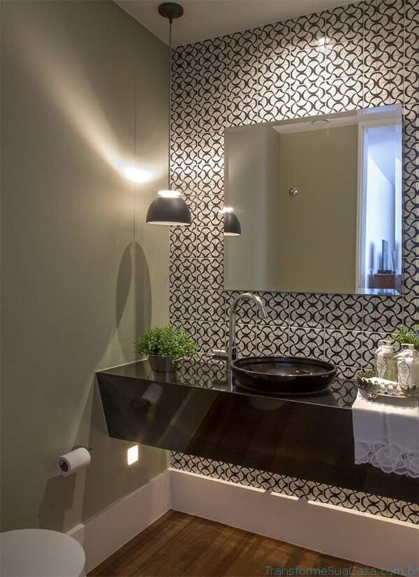 Papel de parede para banheiro moderno.