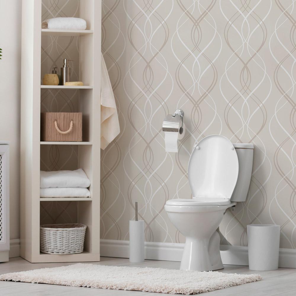 Papel de parede para banheiro neutro.