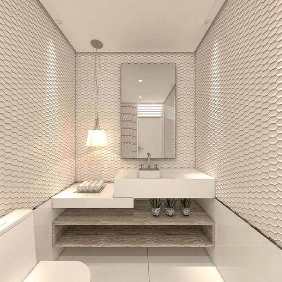 Papel de parede para banheiro 3D branco.