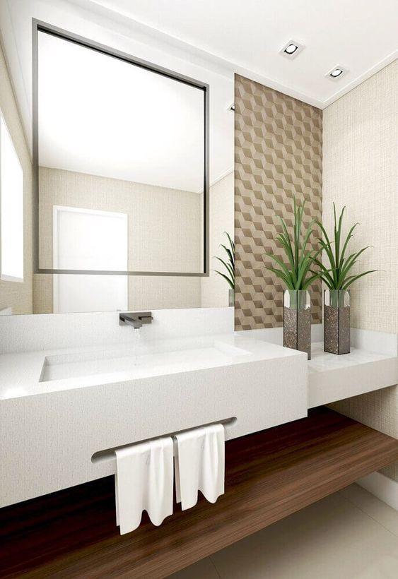 Papel de parede para banheiro 3D marrom.