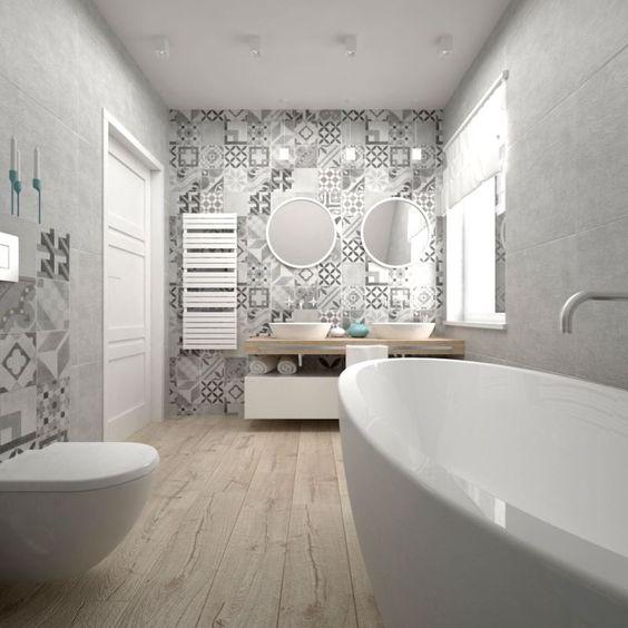 Papel de parede para banheiro luxuoso com estampa de azulejo cinza.