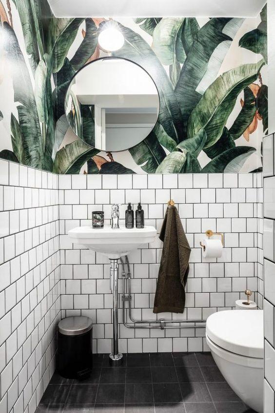 Decoração moderna com estampa vegetal e metrowhite.
