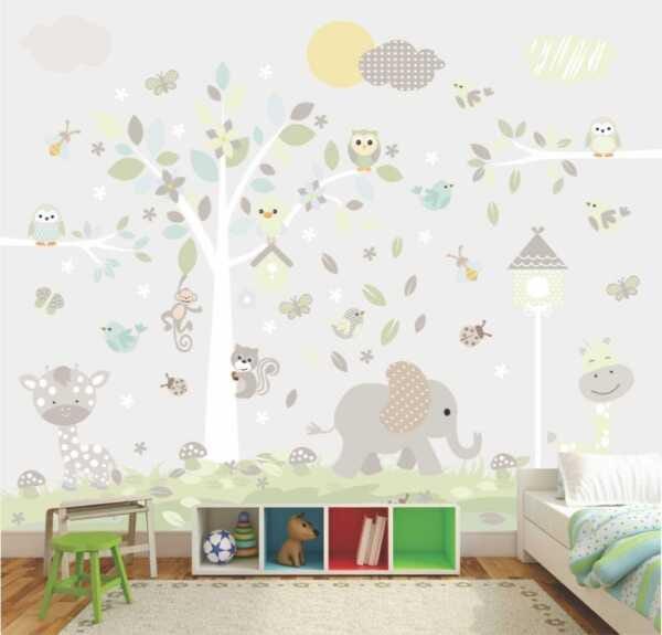Papel de parede para quarto infantil com animais.