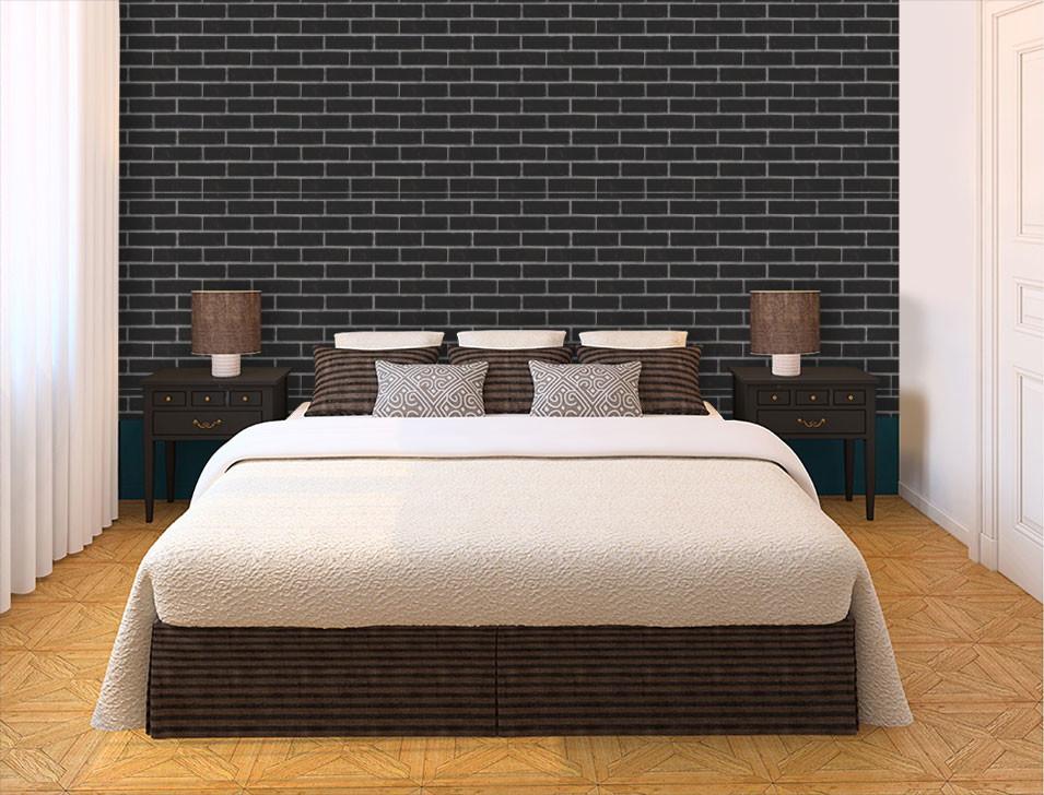 Papel de parede para quarto preto.