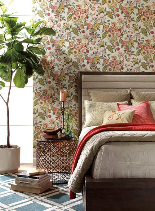 Papel de parede para quarto moderno e floral.
