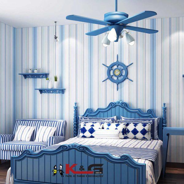 Papel de parede para quarto com decoração marinha.