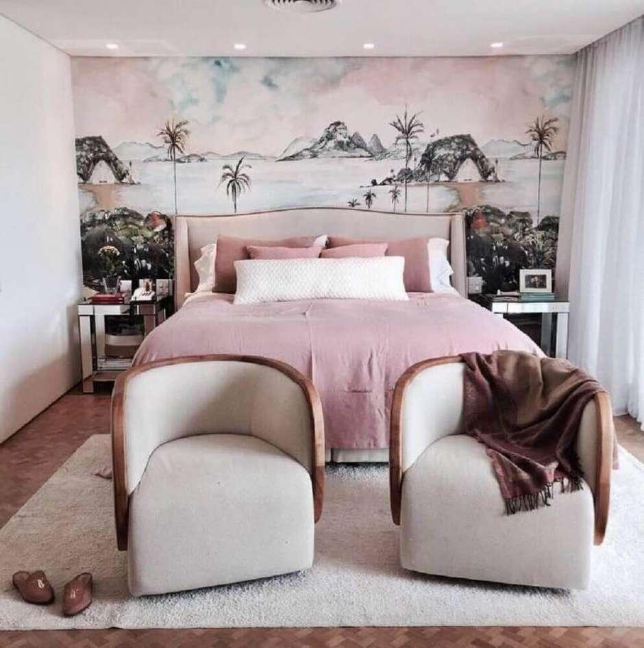 Papel de parede para quarto feminino com estampa de paisagem.