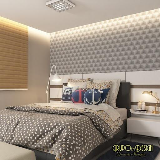 Papel de parede para quarto com estampa 3D.