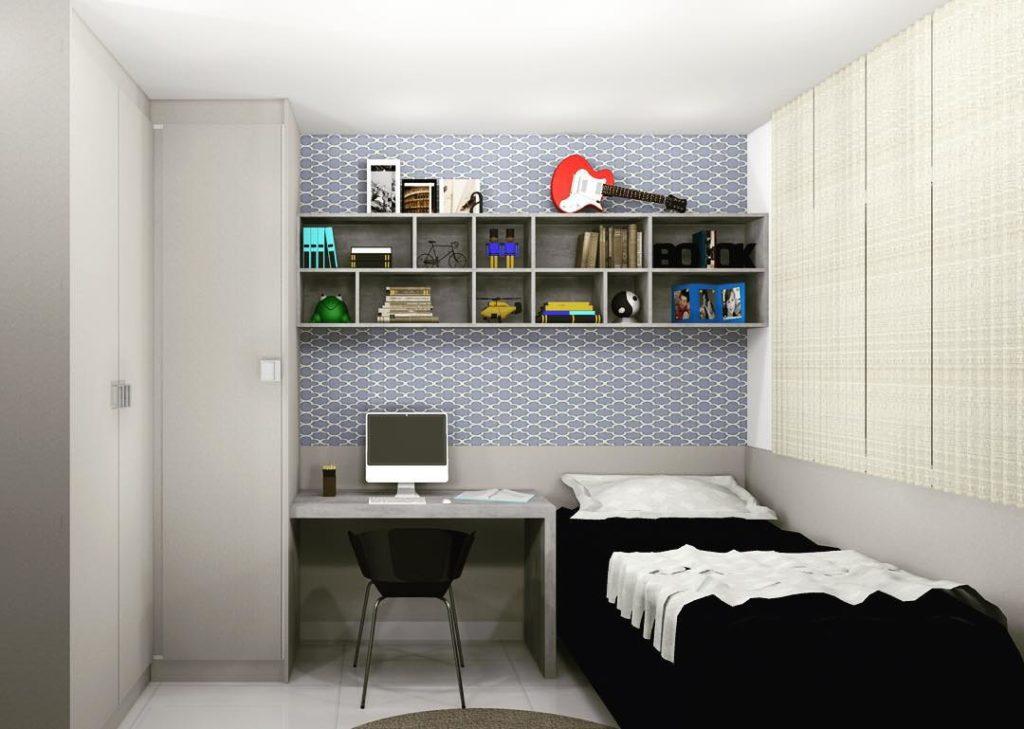 Projeto simples para cômodo de solteiro.