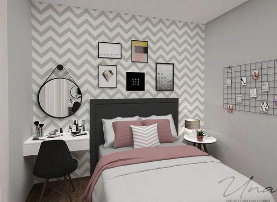 Projeto de cômodo de solteiro com decoração tumblr.