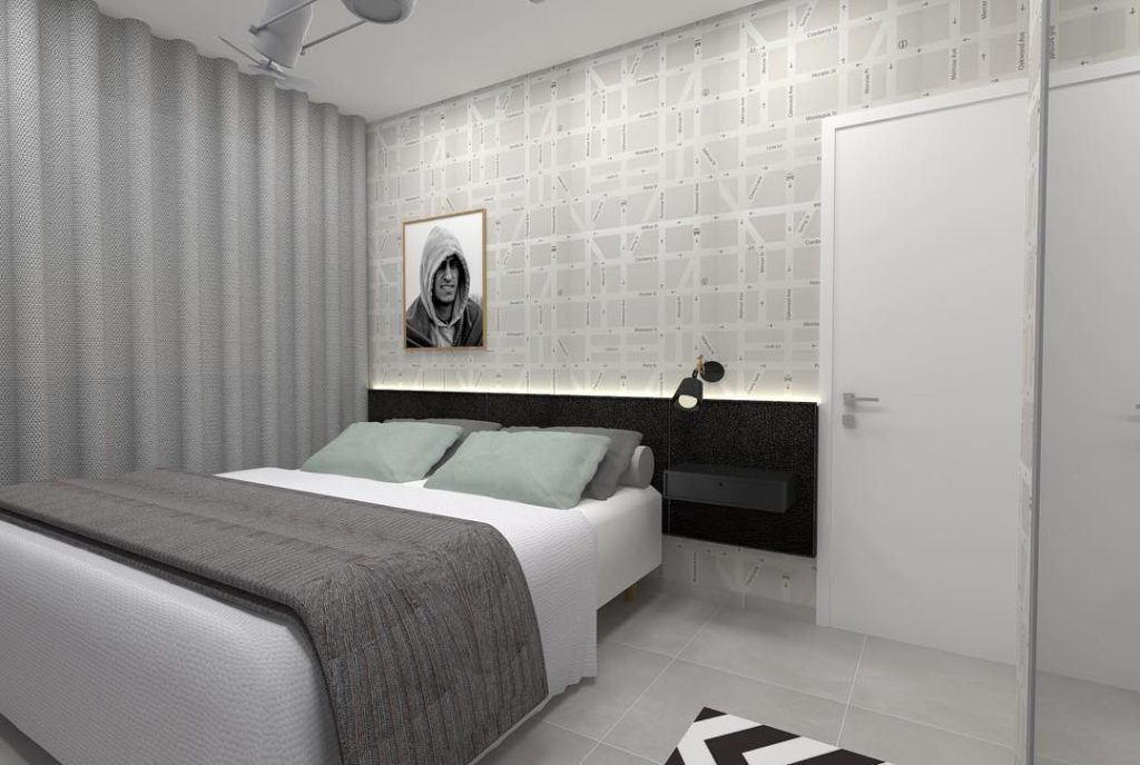 Projeto de cômodo masculino com decoração moderna.
