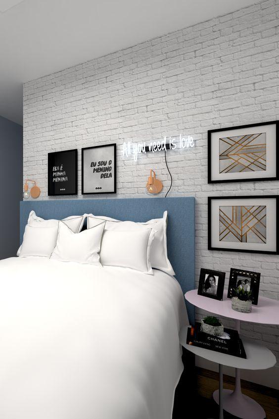 Projeto de cômodo de solteiro pequeno com decoração tumblr.