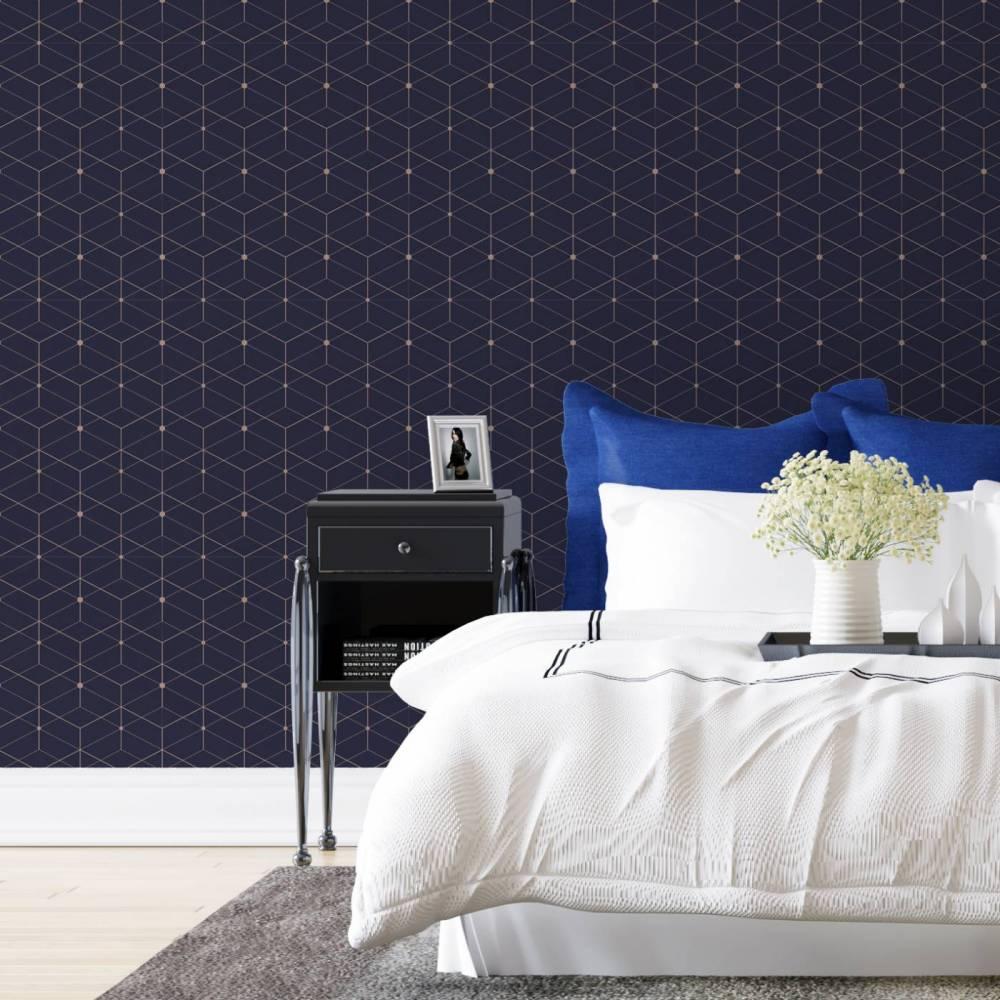 Papel de parede para quarto de casal com estampa azul.