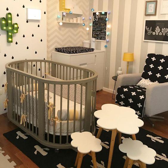 Papel de Parede para Quarto de Bebê unissex preto e branco.