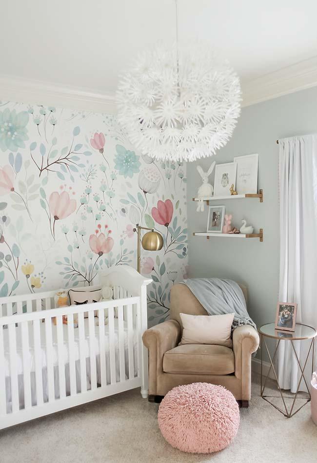 Papel de Parede para Quarto de Bebê floral simples.