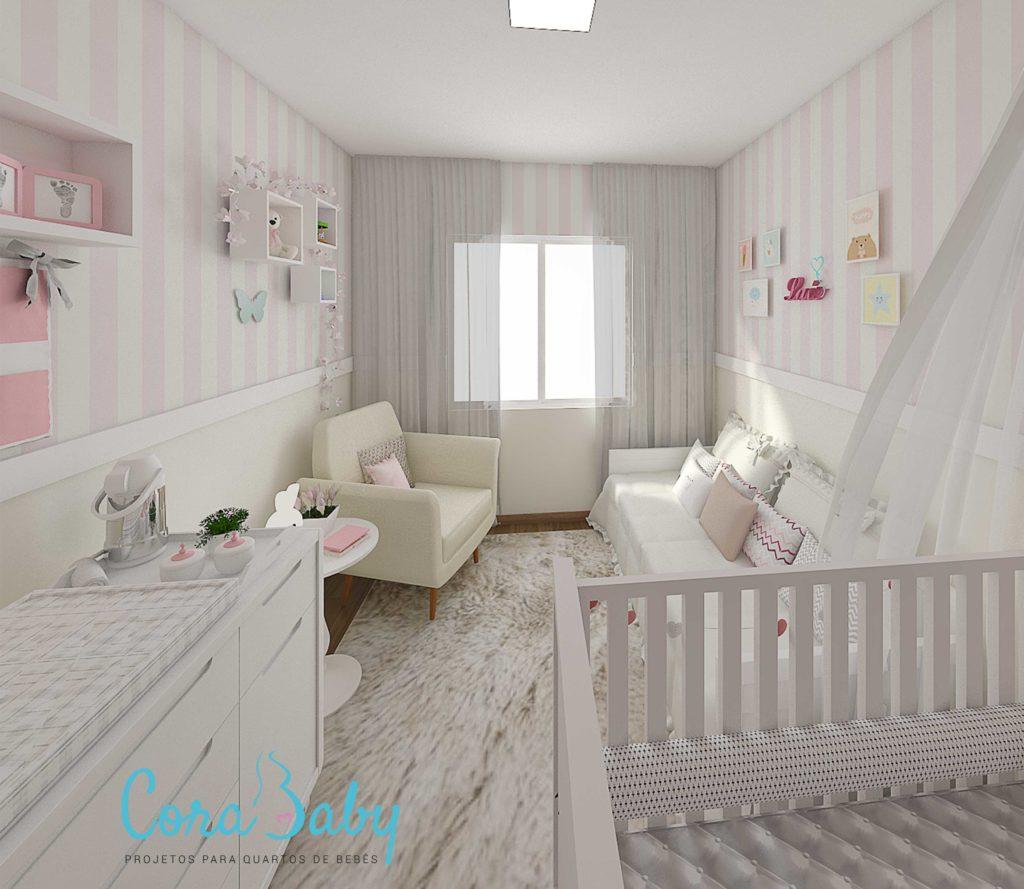 Papel de Parede para Quarto de Bebê com listras rosas.