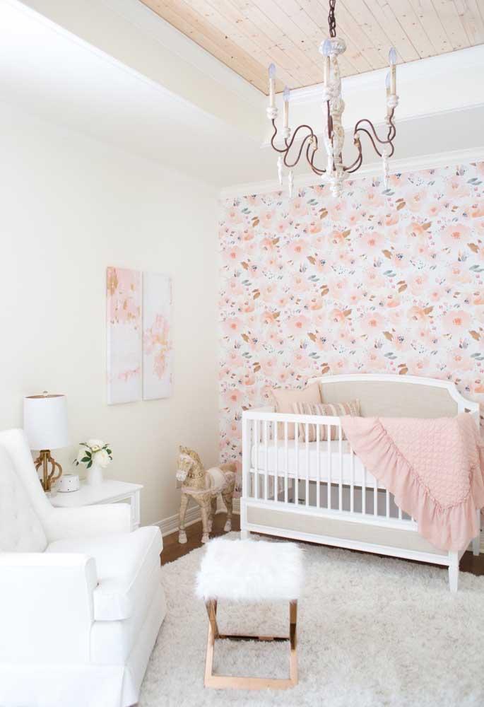 Papel de Parede para Quarto de Bebê com estampa floral.