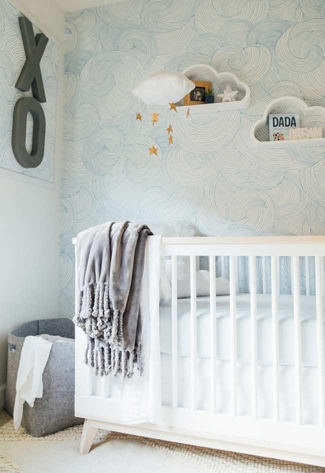 Papel de Parede para Quarto de Bebê azul moderno.