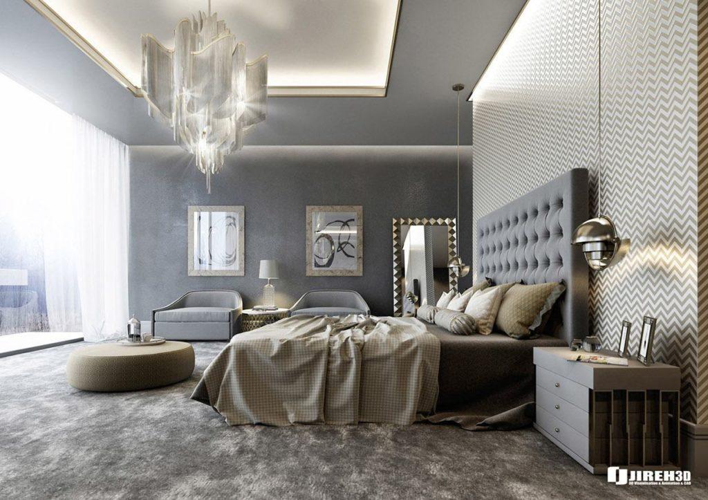 Papel de parede para quarto de casal luxuoso e cinza.
