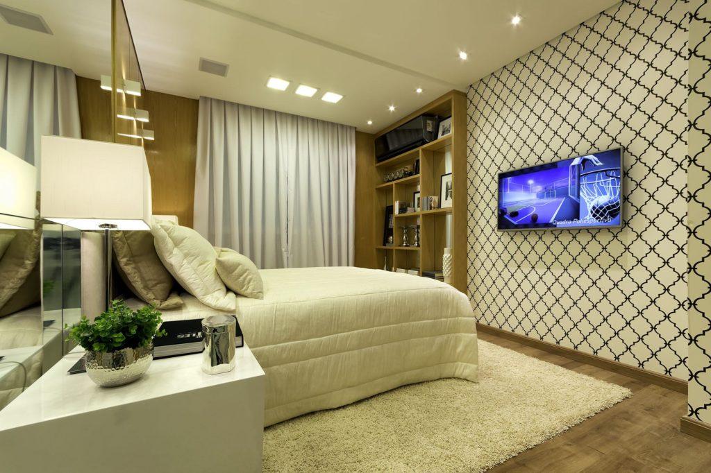 Papel de parede para quarto de casal  com estampa preta e branca clássica.
