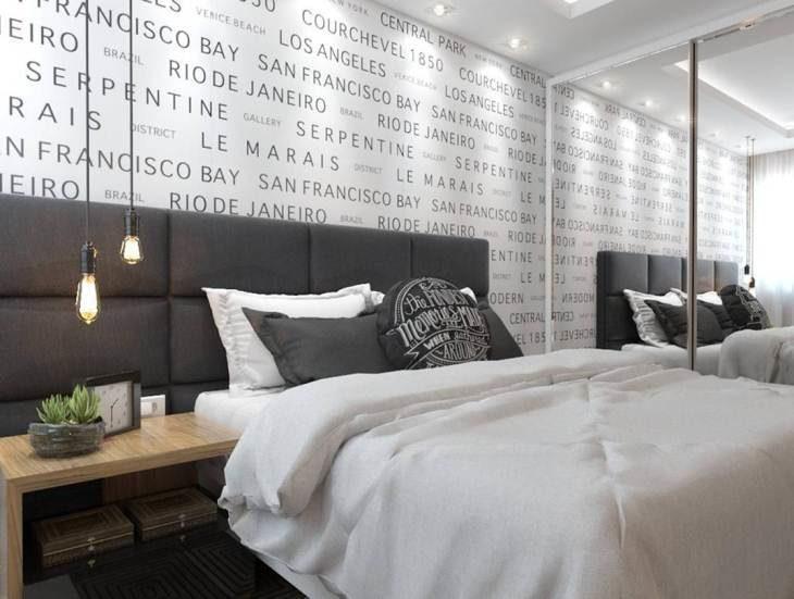 Papel de parede para quarto de casal  com estampa com frases.
