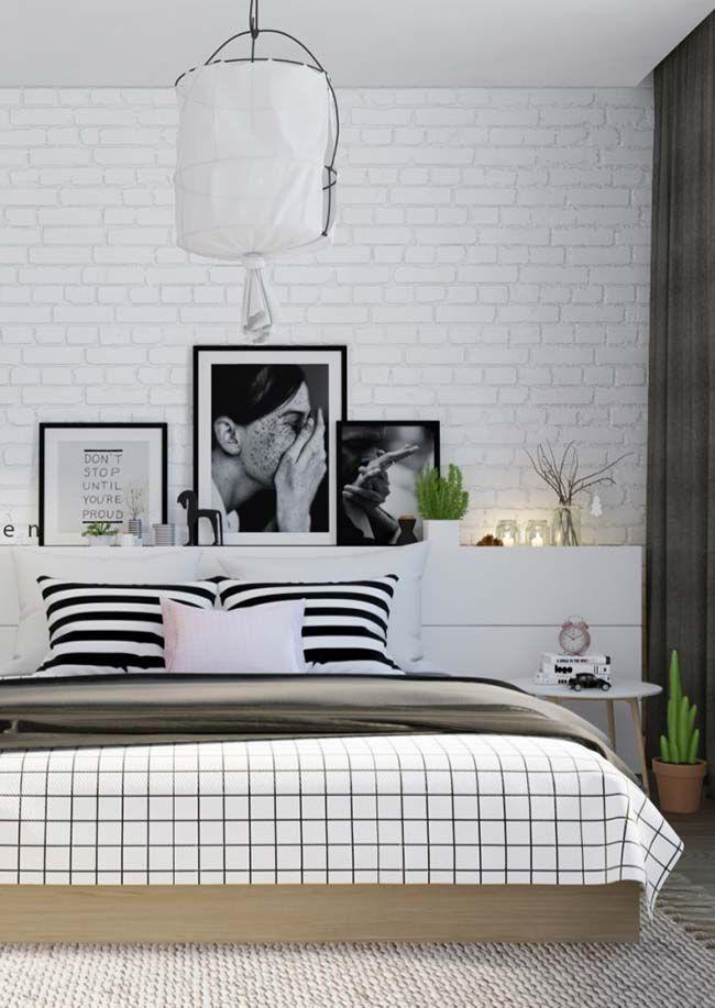 Papel de parede para quarto de casal  com estampa de tijolinho branco.