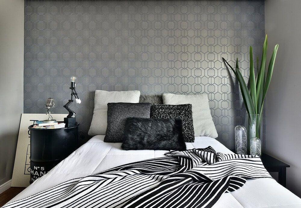 Papel de parede para quarto de casal  cinza.