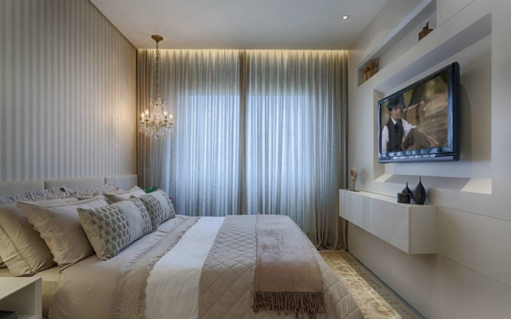 Papel de parede para quarto de casal  simples e luxuoso.