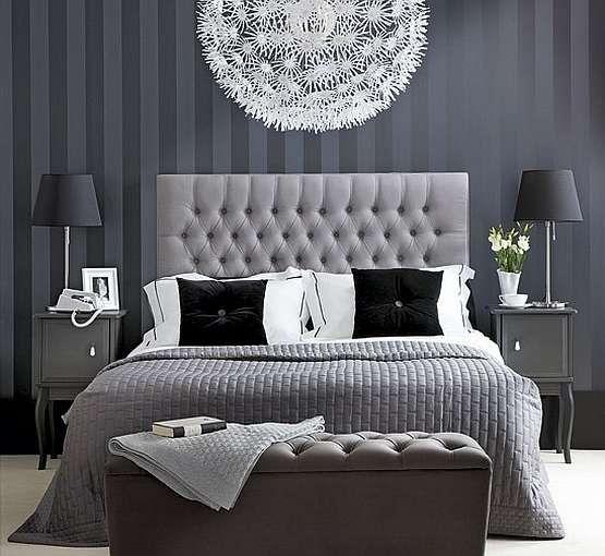 Papel de parede para quarto de casal  cinza e luxuoso.