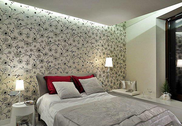 Papel de parede para quarto de casal  floral cinza.