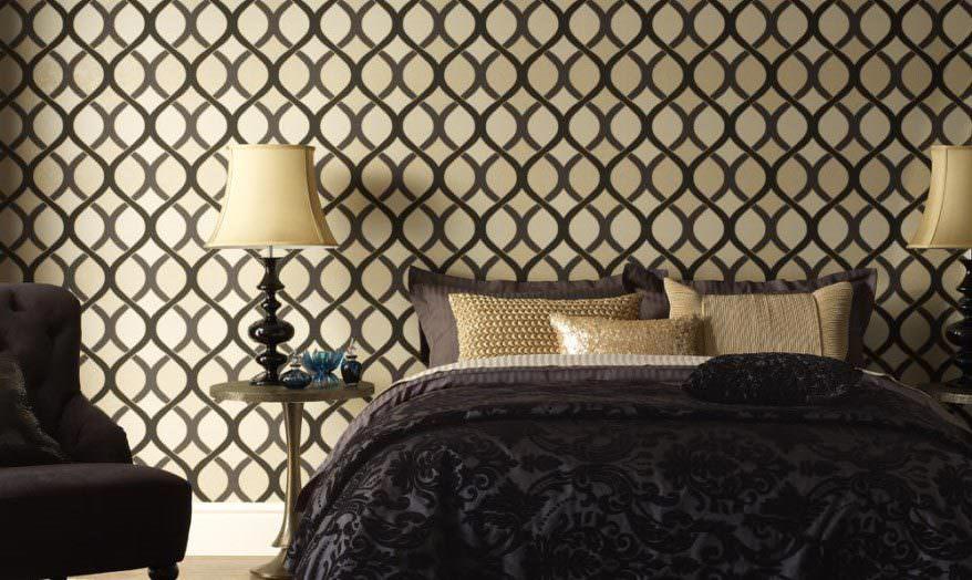 Papel de parede para quarto de casal  com estampa moderna.