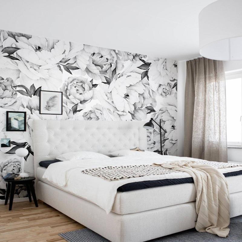 Papel de parede para quarto de casal  floral branco.