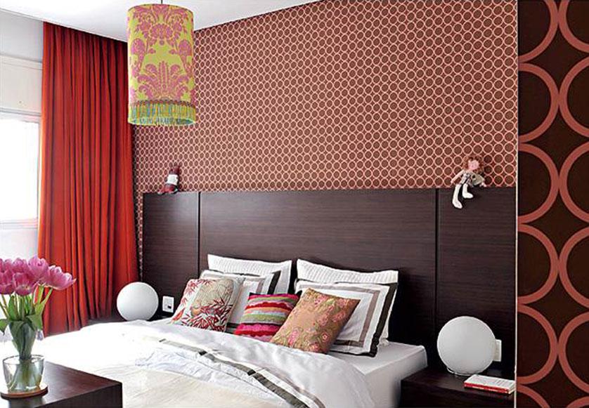 Papel de parede para quarto de casal  vermelho.