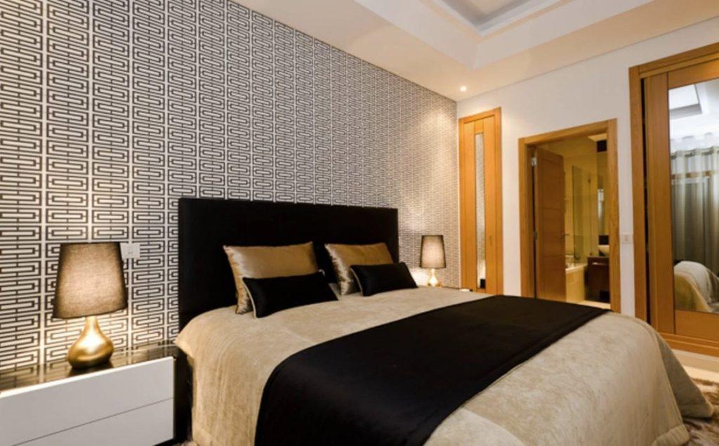 Papel de parede para quarto de casal  moderno preto e branco.