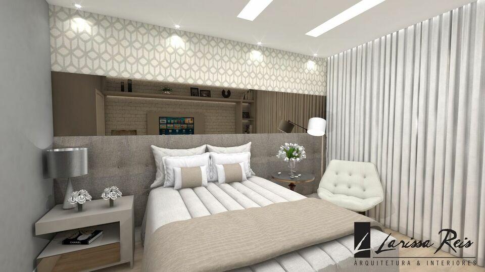Projeto de cômodo pequeno com cabeceira de cama estofada.
