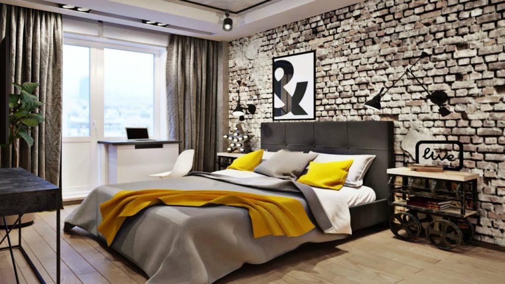 Papel de parede para quarto de casal com estampa de tijolinho aparente.