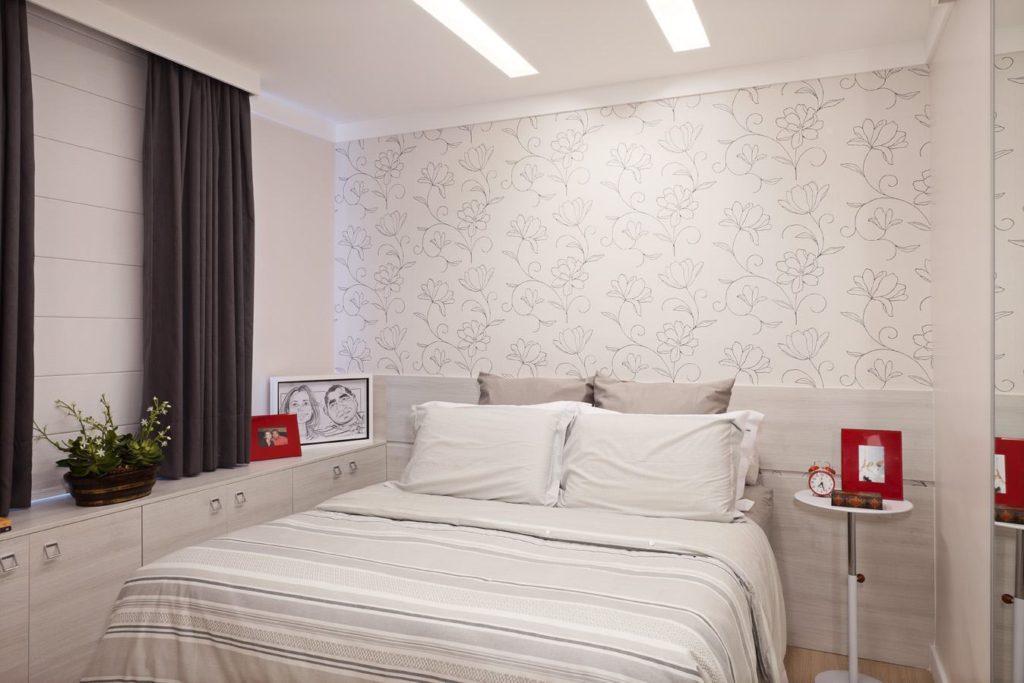 Decoração para cômodo pequeno e neutro.