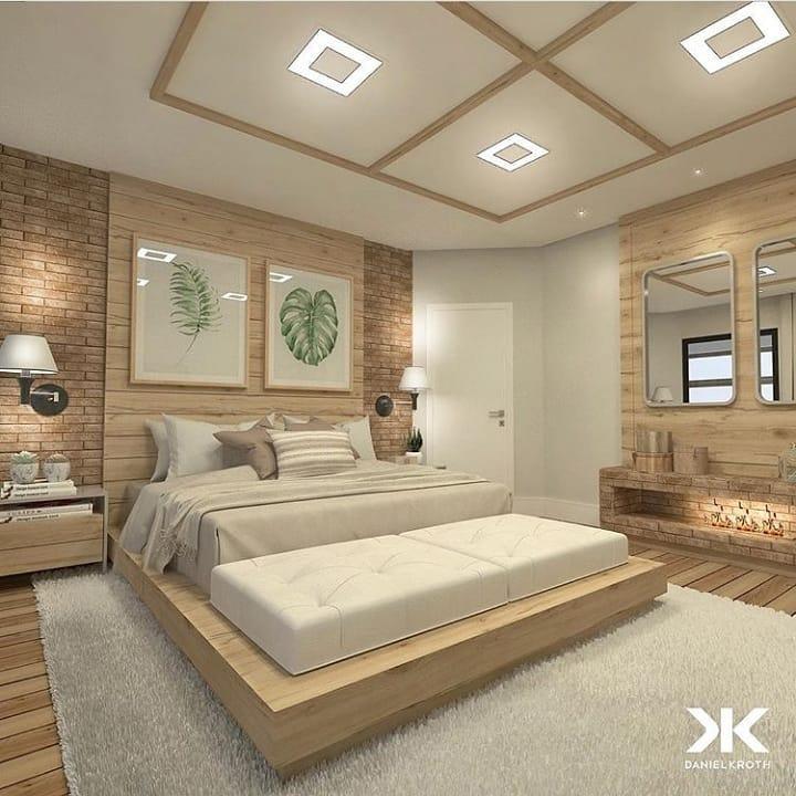 Projeto moderno com banheiro e cama de madeira.