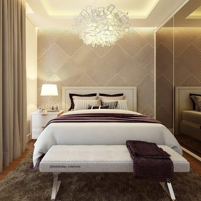 Decoração de cômodo pequeno e lustre pequeno.