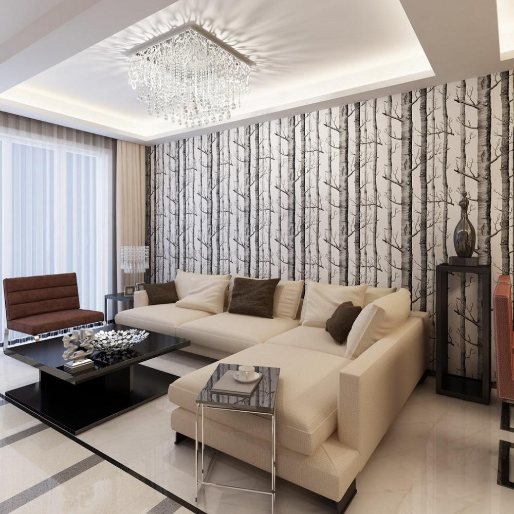 Papel de parede para sala de estar com sofá em L.