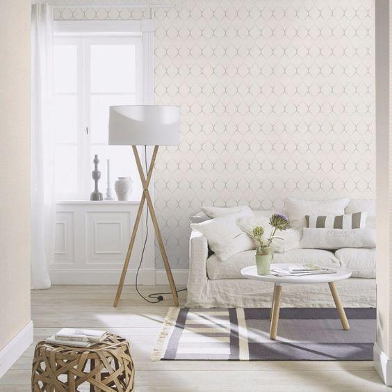 Papel de parede para sala de estar branca.
