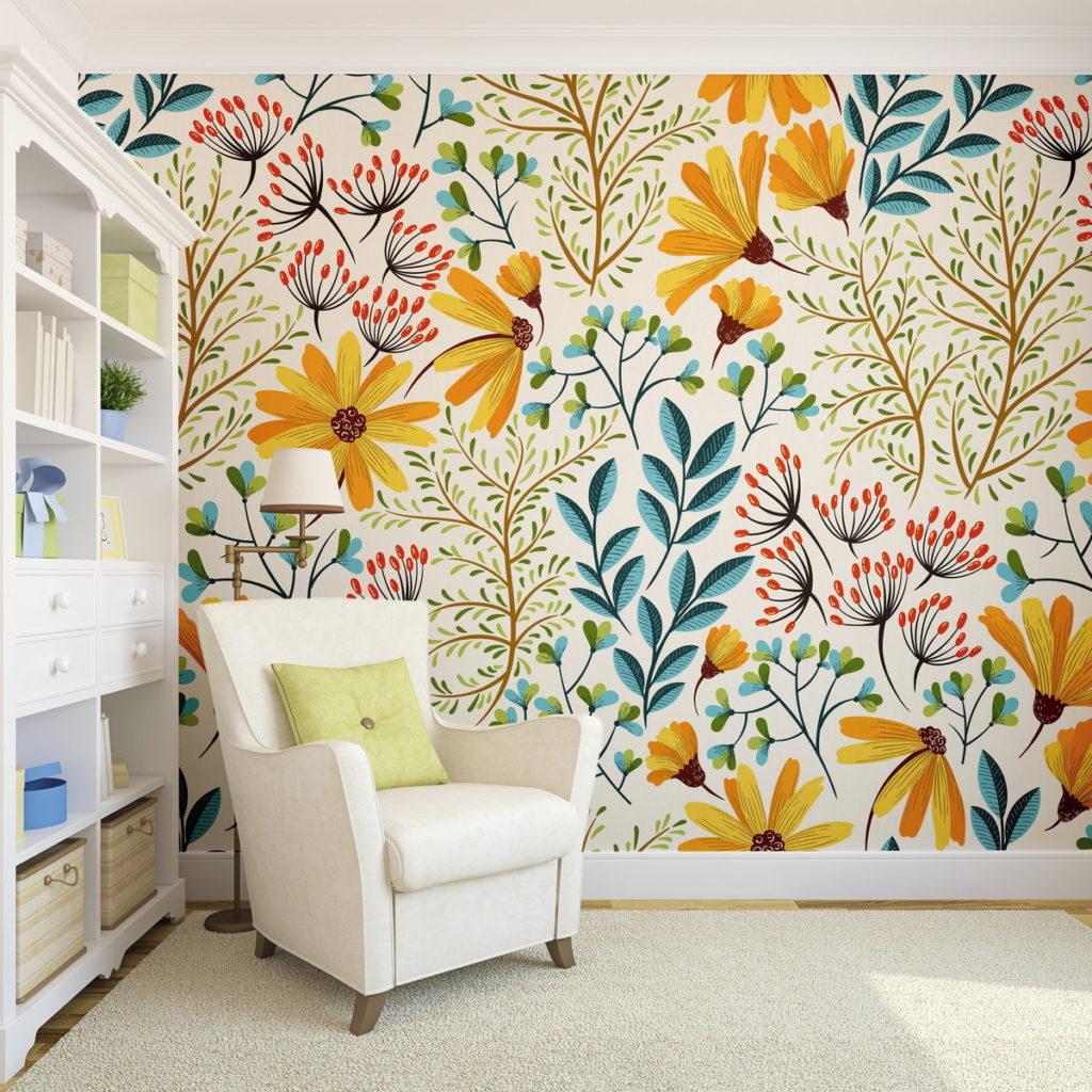 Papel de parede para sala floral.